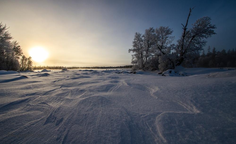 En del vind siste dager, hadde laget riktig flotte mønster i snøen.