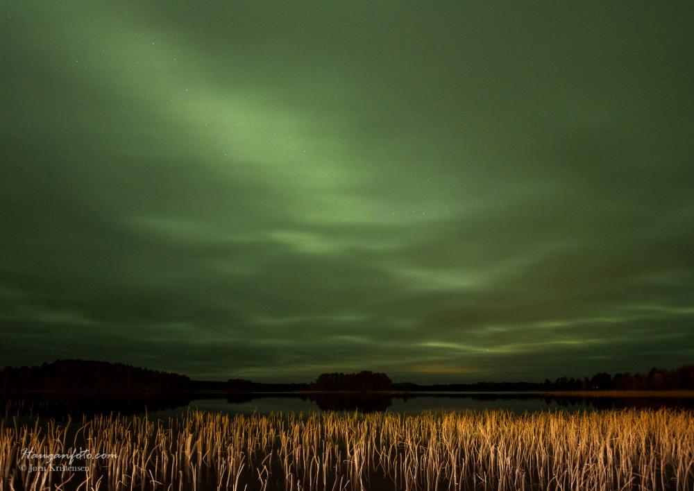 Ved Storbo så det slik ut. Når det er SÅ grønt bak, skyene, da er det mye nordlys da! Bare å fortsette østover.